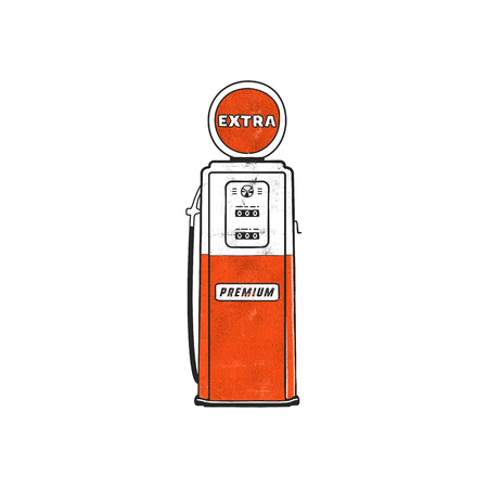 Retro style Gas station pump artwork. Vintage hand drawn design in distressed style. Unique gasoline pump illustration. Stock isolated on white background