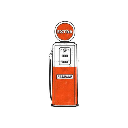 Ilustraciones de bomba de gasolinera de estilo retro. Diseño dibujado a mano vintage en estilo angustiado. Ilustración de bomba de gasolina única. Stock aislado sobre fondo blanco.