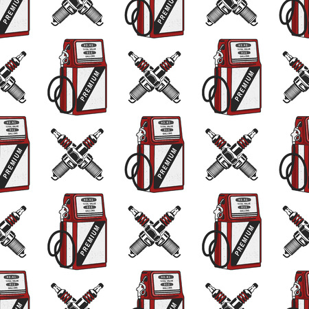 Gas station pump with sparking-plug seamless design. Vintage hand drawn oil station pattern. Stock background isolated on white