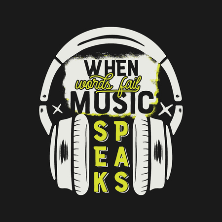 Music tee graphic design, poster. Music inspirational quote. Headphones T-Shirt print design. Vintage hand drawn graphics. Monochrome and yellow retro colors. Stock isolated on black background Stock Photo