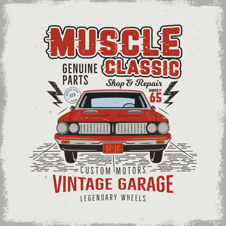 Vintage hand drawn classic muscle car t shirt design. Classic automobile poster with words - vintage garage, legendary wheels. Retro automotive tee goes in retro colors. Stock illustration
