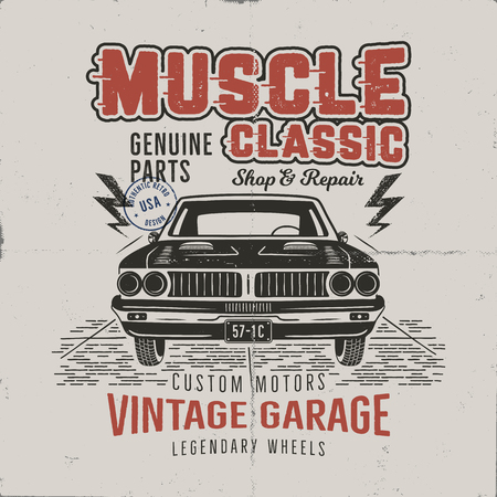 Vintage hand drawn muscle car t shirt design. Classic car poster with typography. Retro style poster with grunge background. Old car logo, emblem template. Stock illustration