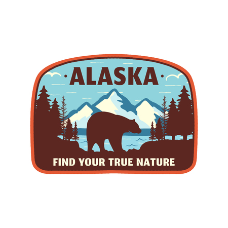Alaska badge design. Mountain adventure patch. American travel logo. Cute retro style. Find your true nature custom quote. Bear walking through the forest. Stock vector emblem Фото со стока