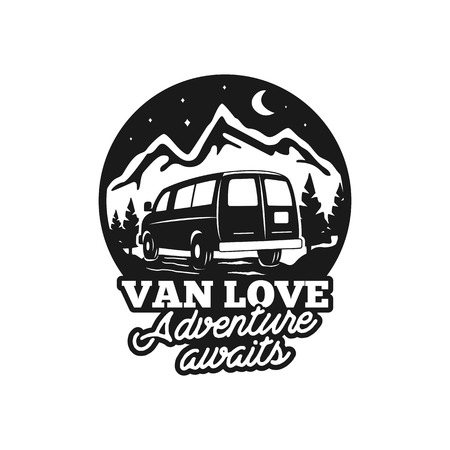 Vintage hand drawn camp logo badge. Van love - adenture awaits quote. Happy camper in mountains concept. Perfect for T-Shirt, mug, sticker. Stock vector emblem isolated on white background