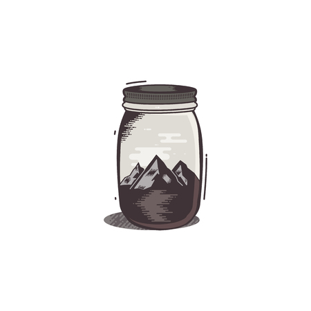 Travel T-Shirt Print. The mountains and river in jar design. Adventure silhouette printing, poster. Camping emblem, badge textured style. Hipster patch. Stock vector illustration isolated