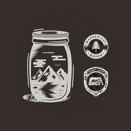 Vintage hand drawn camping badges and patches. Mountains and river in jar in retro textured style. Adventure pathces - wanderlust queen and tent life labels. Stock vector isolated on dark