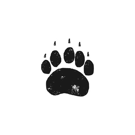 Bear footprint. Wild animal paw in silhouette style. Black grizzly foot icon. Stock vector isolated on white background