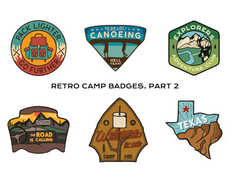 Vintage hand drawn travel badges set. Camping labels concepts. Mountain expedition logo designs. Outdoor hike emblems. Camp logotypes collection. Stock vector patches isolated