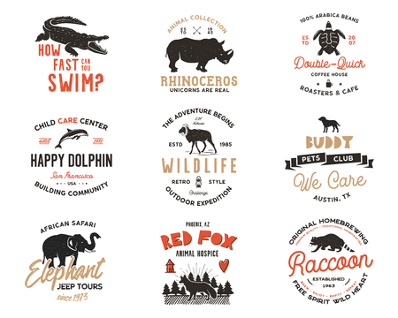 Wild animal Badges set and great outdoors activity insignias. Retro illustration of animal badges. Typographic camping style. wild Animal  with letterpress effect. Explorer quotes. Part 2 版權商用圖片