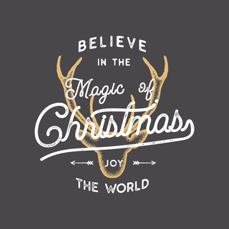 Merry Christmas lettering. Believe in the Magic of Xmas typography quote, wish with deer head. New Year lettering, sayings, vintage labels. Seasonal greetings calligraphy. Stock holiday vector