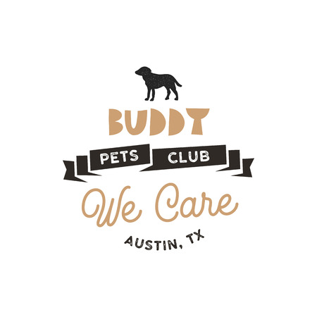 Buddy, pet club  template. Pet silhouette label illustration isolated on white background. Modern animal badge for veterinary clinic, pet food. Animal typography logotype. Stock