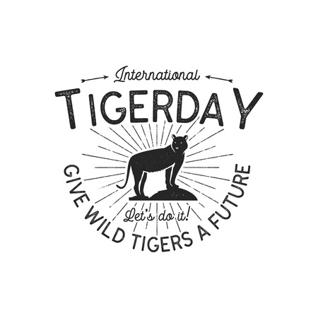 International tiger day emblem. Wild animal badge design. Vintage hand drawn typography  of tigerday with sun bursts. Stock illustration isolated on white background Banque d'images - 110918077
