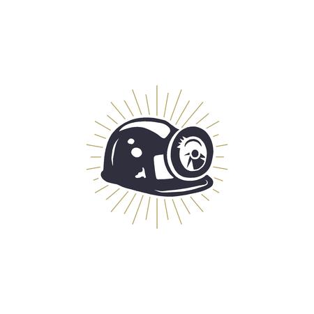 Retro ikona hełmu górniczego z wbudowanymi lekkimi i metalowymi wspornikami. Sylwetka symbol górnika. Stylowa ilustracja wektorowa monochromatyczne kopalni. Ilustracje wektorowe