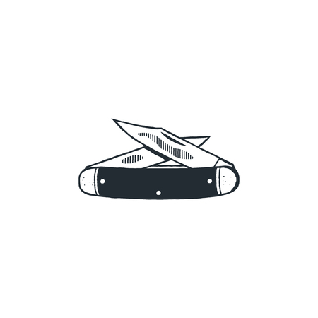 Camp knife symbol. Silhouette style. Vintage hand drawn travel element, camping equipment. Stock illustration isolated on white background.