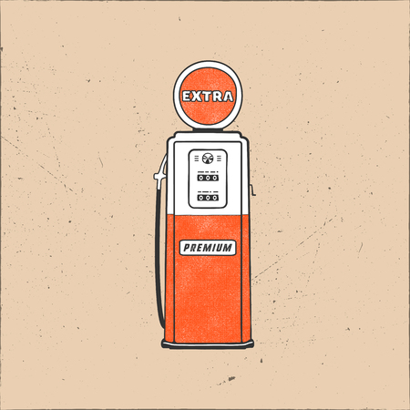 Retro style Gas station pump artwork. Vintage hand drawn design in distressed style. Unique gasoline pump illustration. Green and red colors palette. Stock isolated on grunge background