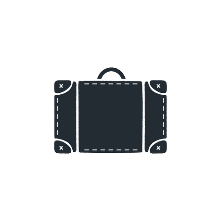 Vintage hand drawn travel bag. Silhouette design icon. Stock isolated on white background Archivio Fotografico - 113436382