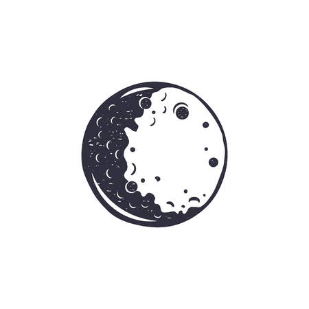 Vintage hand drawn moon symbol. Silhouette monochrome icon. Stock illustration isolated on white background. Retro design Stock Photo