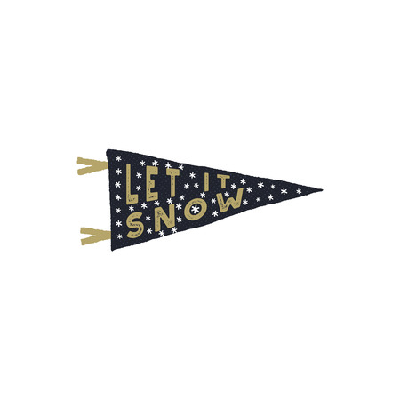 Vintage hand drawn pennant. Let it snow quote with snowflakes. Hand drawn lettering Christmas, new year design. Typography card for holiday cards, photo overlays for Socials.Stock isolate.