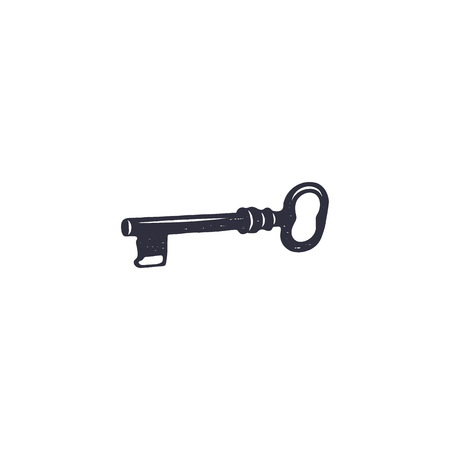 old key icon. Silhouette design. Black pictogram. Monochrome stock illustration isolated on white background Archivio Fotografico - 113706180