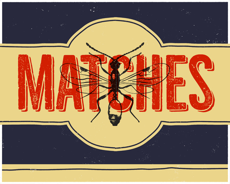 Matchbox design and matches with insect in retro style. Top view. Vintage habd drawn illustration. Stock