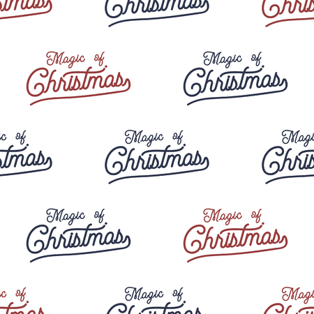 Magic of Christmas lettering seamless pattern design. Holiday typography background for xmas cards, invitations, t shirts. Chritmas retro colors palette. Stock isolated on white