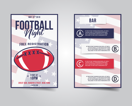 American football flyer. Sports party night layout, brochure. Modern professional poster. Rugby game event invitation. Stock vector template isolated on grunge background