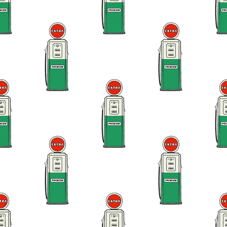 Gas station pump seamless design. Vintage hand drawn oil station pattern. Stock background isolated on white Banque d'images - 113705990