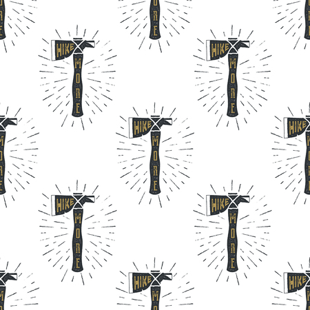 Camping axes cross pattern. Lumberjack equipment seamless. Hike more text inside. Stock Vector wallpaper illustration Stock Illustratie