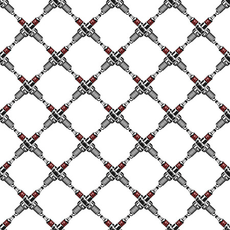 Spark plugs Pattern. Garage Seamless symbols. Stock Vector mechanic wallpaper illustration isolated on white background Illustration