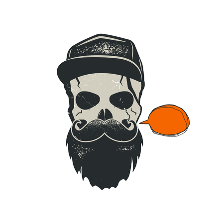 Grunge hipster skull emblem with quote bubble, cap and beard. Stylish vintage hand drawn design. Stock vector illustration isolated on white background.