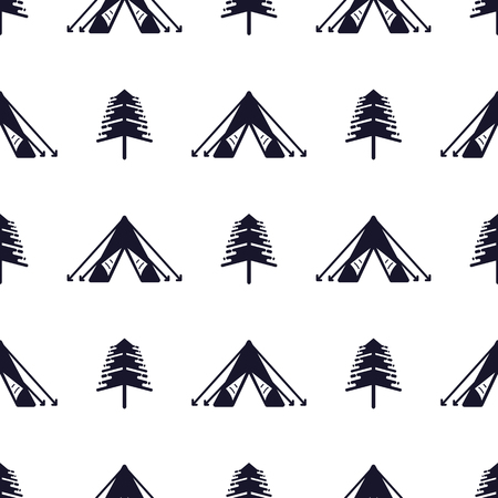 Tent and tree seamless pattern. Silhouette distressed style. Outdoor adventure equipment wallpaper background. Stock illustration isolated on white
