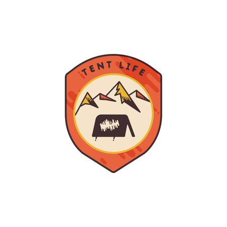 Vintage hand drawn adventure themed retro badge.