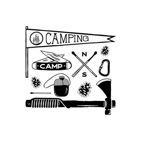 Vintage hand drawn camping adventure shapes. Hiking symbols - pennant, knife, matches, axe and others. Retro monochrome design. Can be used for t shirts, prints. Stock isolated on white