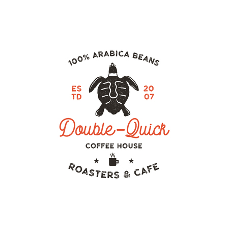 Roasters and cafe template with turtle, cup silhouette symbol. Wild animal icon. Coffee bar , vintage hand drawn badge, label. Typography insignia. Stock isolated.