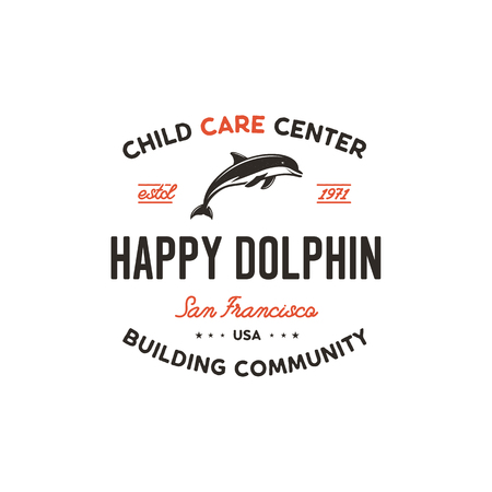 Child care center emblem. Dolphin symbol, icon and typography design badge. Happy dolphin sign. Stock template isolated on white background 写真素材 - 113705718
