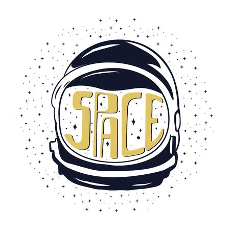 Casque d'astronaute vintage dessiné à la main pour voyager dans l'espace avec des textes personnalisés - espace et étoiles. Emblème de stock isolé sur fond blanc. Bon pour les T-shirts, les tasses Banque d'images