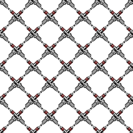 Spark plugs Pattern. Garage Seamless symbols. Stock mechanic wallpaper illustration isolated on white background