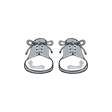 Zapatos de senderismo vintage, botas de camping. Diseño de arte de línea de boceto. Icono de estilo de silueta. Stock aislado sobre fondo blanco.