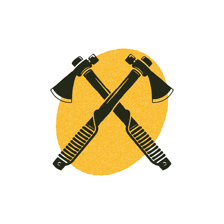 Crossed axes icon with yellow shape behind. Lumberjack symbol isolated on white background. Silhouette design. Stock illustration isolated on white