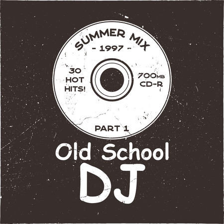 Music concept T-shirt design. Old School DJ tee with CD and sign - summer mix 1997. 90s funny poster. Stock brochure isolated on dark grunge background