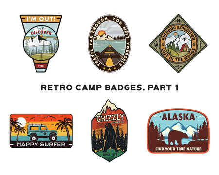 Set of retro Wanderlust Emblems. Vintage hand drawn travel badges. Different camp, forest activities scenes . Included custom adventure quotes. Stock hike insignias isolated on white