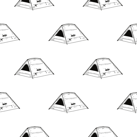 Line art Tent seamless pattern. Silhouette distressed style. Outdoor adventure wallpaper background. Stock illustration