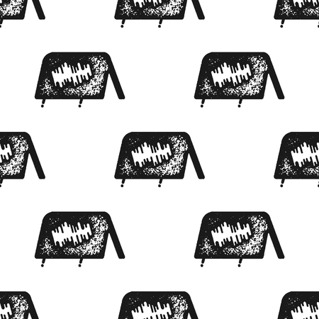 Tent seamless pattern in silhouette retro style. Vintage hand drawn camping symbols wallpaper. Stock background illustration Stock Illustration - 113852297