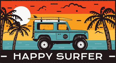 Surfing Emblem. Vintage hand drawn travel badge, poster. Featuring surf car riding on the beach and sea landscape. Happy Surfer quote. Stock summer beach insignia