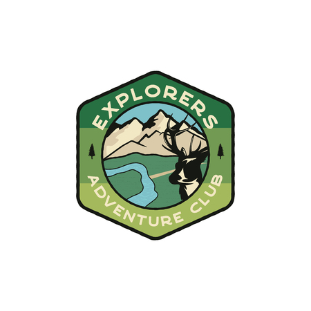 Explorers Emblem. Vintage hand drawn travel badge. Featuring mountain valley with deer and river scene. Adventure club patch. Stock hike, wanderlust insignia isolated