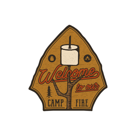 Campsite Emblem. Vintage hand drawn travel badge. Featuring marshmallow and quote - welcome to our campfire. Adventure club patch. Retro colors. Stock hike, wanderlust insignia isolated