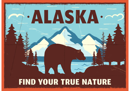 Alaska poster design. Mountain adventure patch. American travel . Cute retro style label, brochure. Find your true nature custom quote. Bear walking through the forest. Stock emblem Фото со стока - 113852381