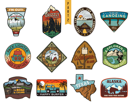 Vintage hand drawn travel badges set. Camping labels concepts. Mountain expedition designs. Outdoor hike emblems. Camp collection. Stock patches isolated on white background. Stock Photo