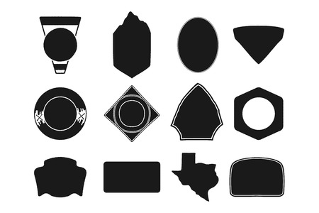 Set of black camping badge shapes. Included Texas state silhouette icon. Stock Objects isolated on white background.