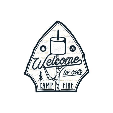Campsite Emblem. Vintage hand drawn travel badge. Featuring marshmallow and quote - welcome to our campfire. Adventure club patch. Line art. Stock hike, wanderlust insignia isolated